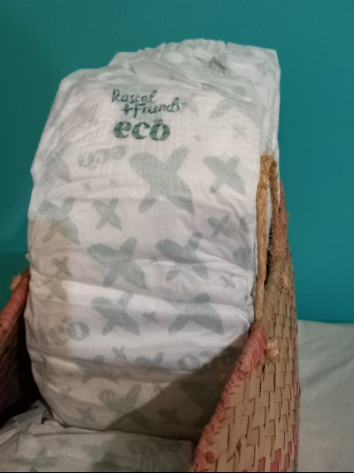 Rascal Friends Eco nappies review-Basket filled with Rascal Friends Eco nappies.