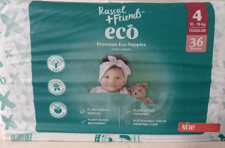 Rascal Friends Eco Nappies Review-Rascal Friends Eco nappies pack size 4