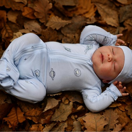 Organic bamboo baby clothes-Sleeping baby wearing cute bamboo outfit.