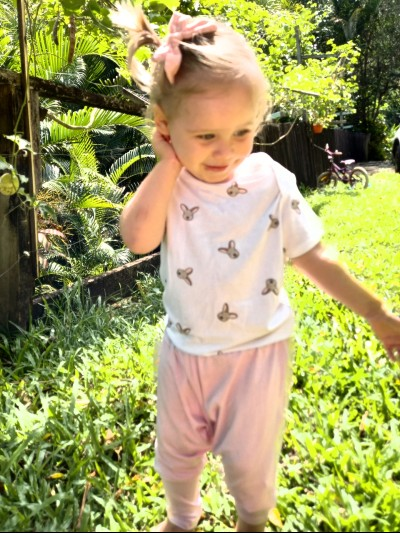 Best baby clothes online-Baby girl wearing Petit Bamboo harem pants and ultra soft Kangaroo T-shirt