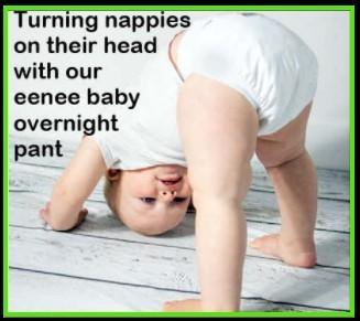 Best compostable nappy  Australia 1.2-Baby wearing Eenee nappie standing upside down.