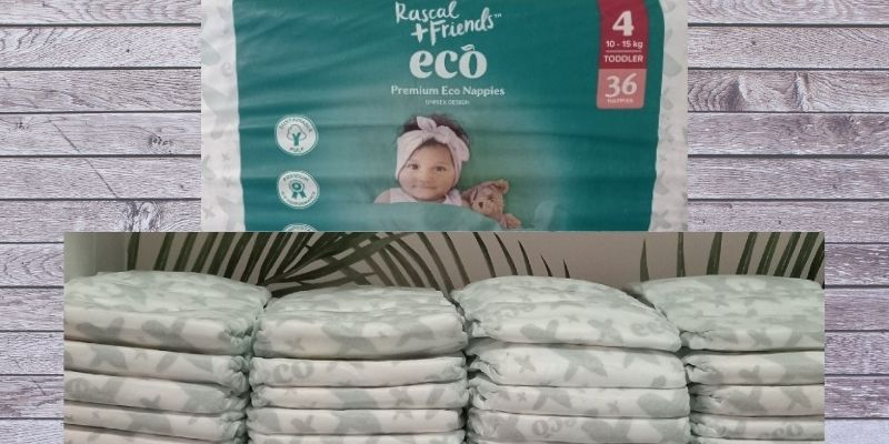Rascal Friends Eco Nappies Review-Rascal friends pack size 4 and a stack of unpacked Eco nappies on a shelf