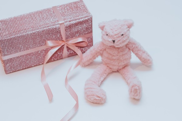 What's a baby registry?-Present wrapped in pink paper with pink ribbon and pink soft toy on the side.