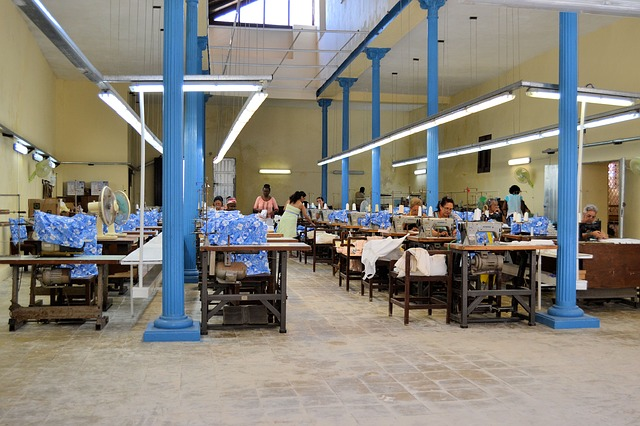 Unique cool baby boy clothes-Manufacturing work space for garments.