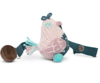 Top infant toys-Baby Pacifier holder with hand knitted toys.