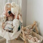 Top infant toys-Macramé toy basket filled with organic soft toys.