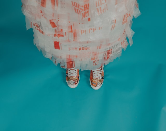What's Eco by naty diapers?-Person with a dress made out of plastic bags.