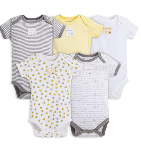 Affordable organic baby clothes brands in the U.S-5 set organic bodysuits from Burt Bees baby.