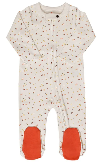 Best Organic cotton baby clothes in the U.S-Finn + Emma organic Footie with Tutti Frutti print.