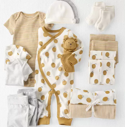 What is Little Planet by Carter's?-Golden lemon baby clothes' gift set.