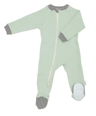 Organic baby clothes made in the U.S.-Organic baby footie from Castle Ware baby..