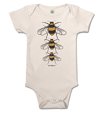 Organic baby clothes made in the U.S-Organic baby onesie with 3 bees from Soul-flower.