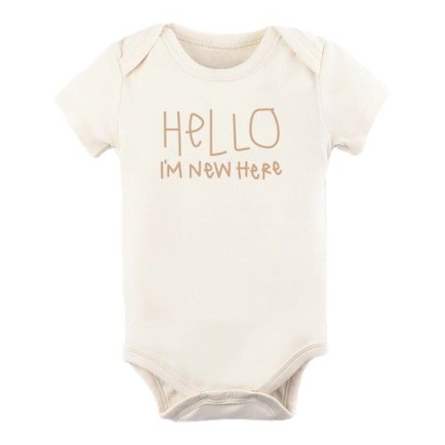 Organic cotton baby clothes made in the U.S.A-Tenth and Pine organic bodysuit 'Hello I am new here'.