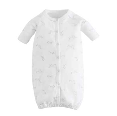Do biodynamic baby clothes exist?-Under the Nile biodynamic convertible romper with stork print.