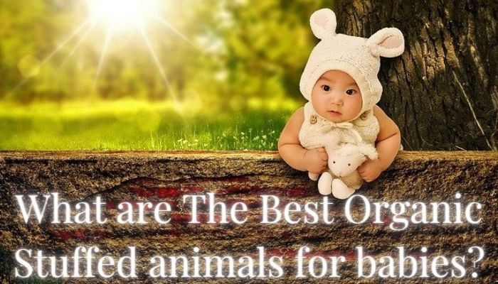 What're the Best Organic stuffed Animals for babies?-Baby with bunny ear hat standing outside in the sunlight holding a white stuffed animal toy.